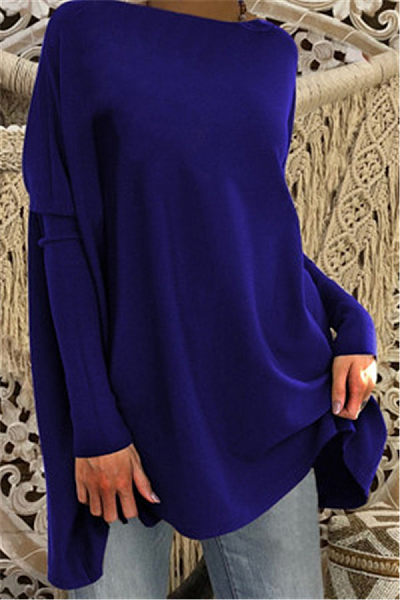 Casual Round Neck Pure Color Loose-Fitting T-shirt