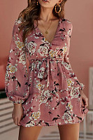 V Neck  Belt  Floral  Lantern Sleeve  Long Sleeve Skater Dresses