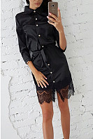 Button Down Collar  Decorative Lace  Plain  Long Sleeve Bodycon Dresses