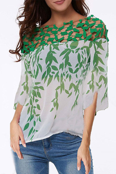 Boat Collar Floral Sleeve Shirt