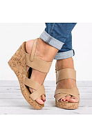 Plain  High Heeled  Ankle Strap  Peep Toe  Casual Date Wedge Sandals