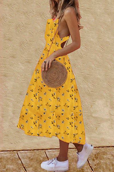 Asymmetric Neck  Single Breasted  Print  Sleeveless Maxi Dresses