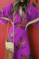 Deep V Neck Floral Batwing Sleeve Slit Chinese Style Maxi Dresses