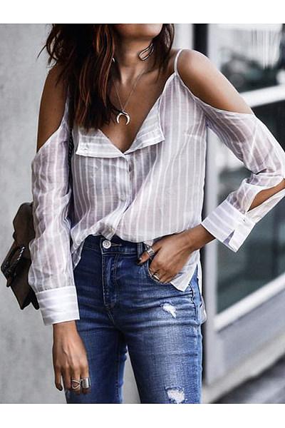 Fashion Sling Strapless Striped Casual Shirt