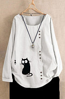 Casual crew neck button cat and fish print T-shirt