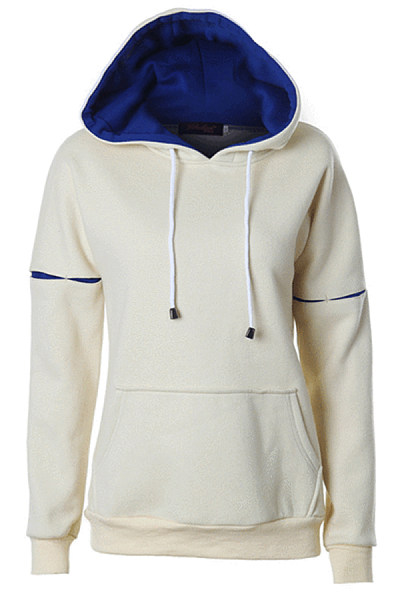 Sleeve color matching drop sleeve pocket drawstring hooded top