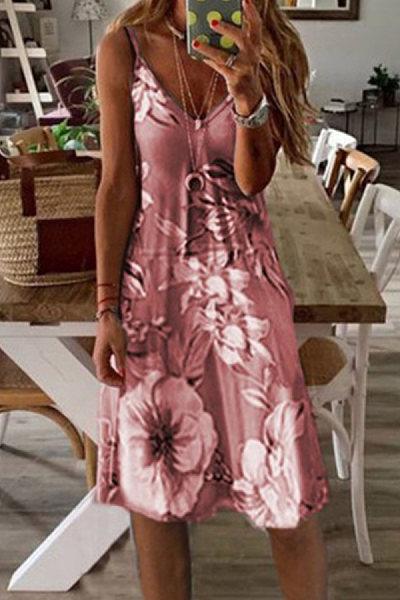 V Neck Printed Striped Maxi Dress