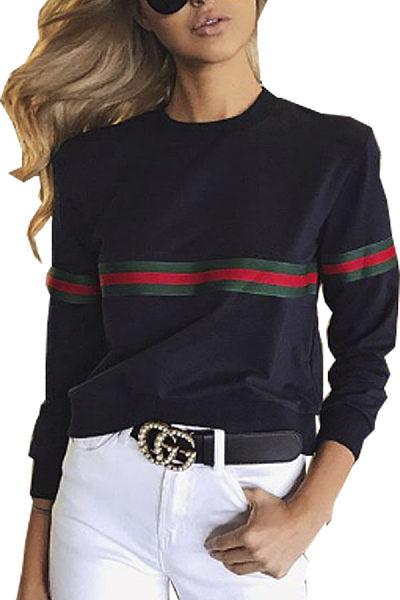 Round Neck  Patchwork Sweatshirts