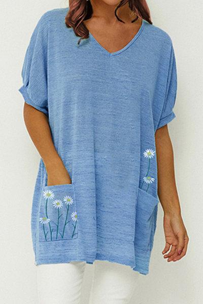 V Neck Flower Print Short Sleeve T-shirt