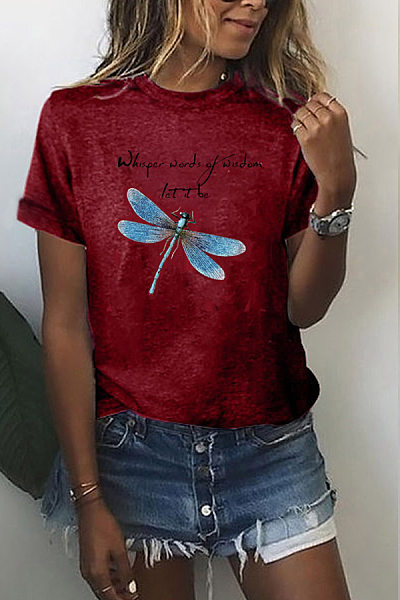 Round Neck Short Sleeve Dragonfly Printed T-shirt