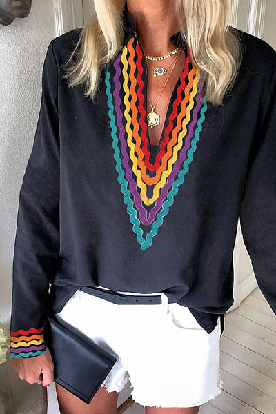 Casual V-Neck Long Sleeve Printed Blouse