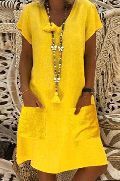 V Neck Pockets Plain Casual Dress