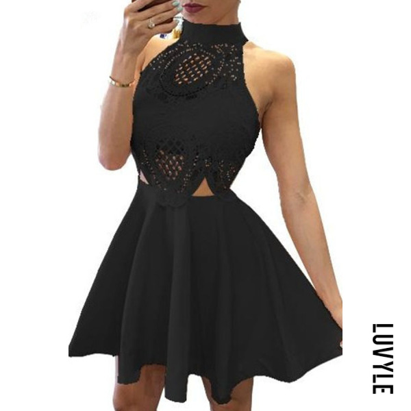 Black Halter Patchwork Hollow Out Sleeveless Skater Dresses Black Halter Patchwork Hollow Out Sleeveless Skater Dresses