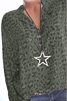 Casual V-Neck Button Leopard Long-Sleeved Shirt