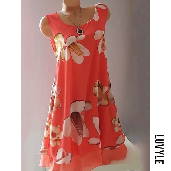 Red Round Neck Floral Printed Shift Dress Red Round Neck Floral Printed Shift Dress