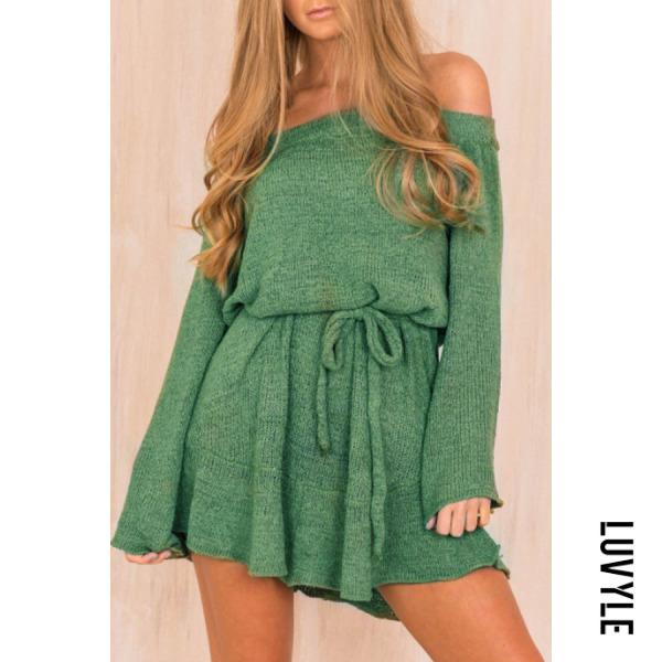 Green Open Shoulder Plain Casual Dresses Green Open Shoulder Plain Casual Dresses