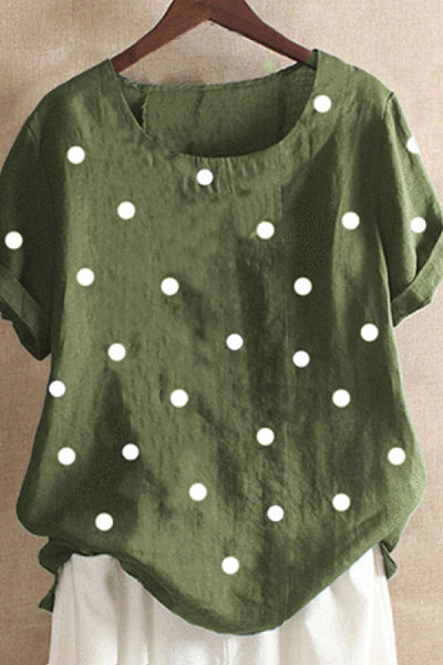 Polka-Dot Casual Short Sleeve Blouse