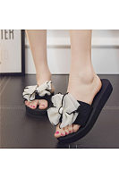 Bowknot Peep Toe Beach Casual Flat Sandals For Women