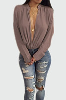 Deep V Neck  Plain  Blouses