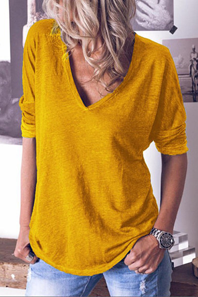V-neck solid color long-sleeved T-shirt