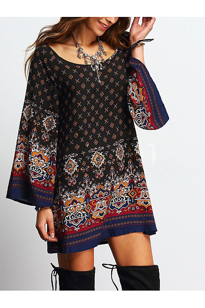 Round Neck Tribal Printed Mini Shift Dress