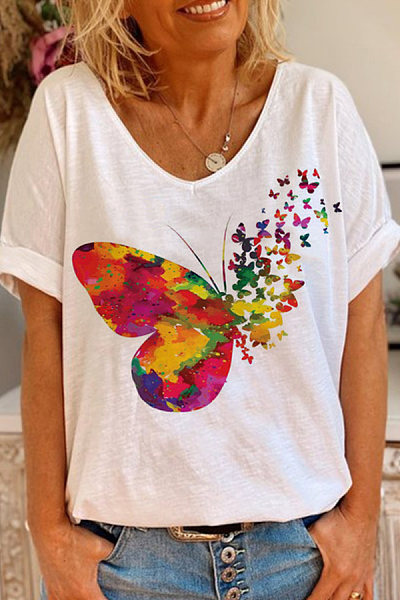 Casual V-neck print color butterfly T-shirt