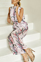 Round Neck  Printed  Sleeveless Jumpsuits