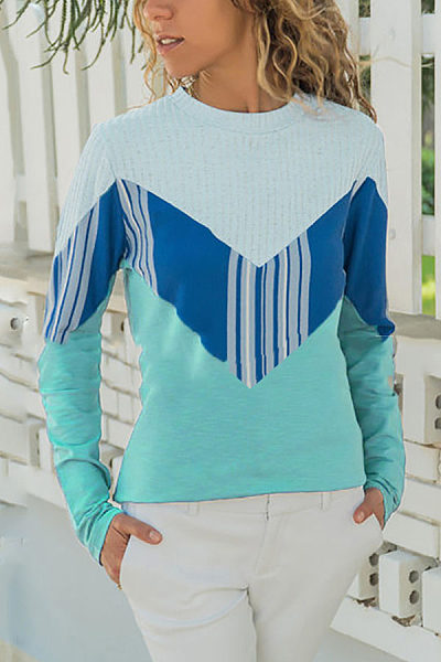 Color Contrast Stitching Casual Long-Sleeved T-Shirt
