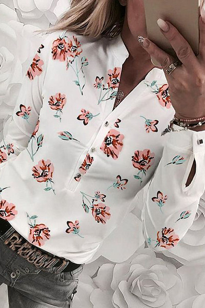 Women V Neck Floral Casual Blouse