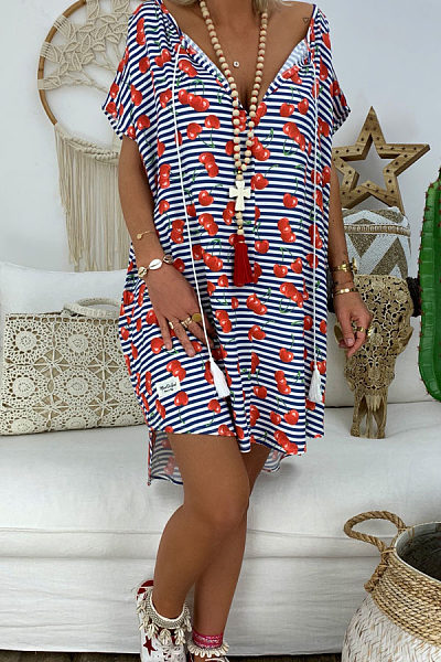 Deep V Neck  Printed  Short Sleeve Casual Dresses