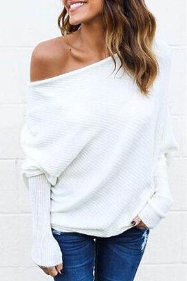9e348ab5d7 open shoulder plain batwing sleeve sweaters