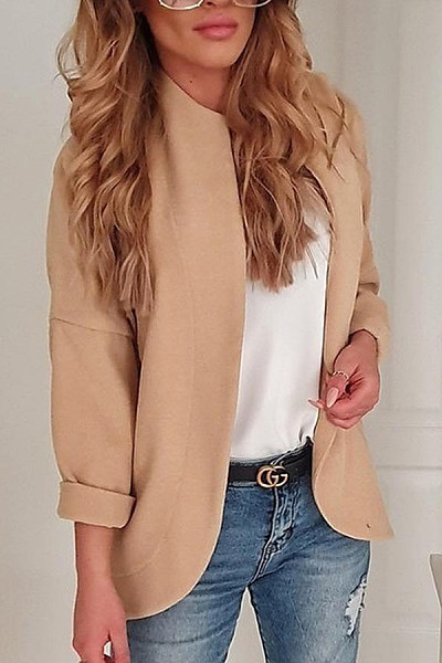 Band Collar Plain Basic Blazers
