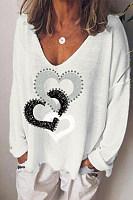 Loving printed V-neck loose casual T-shirt