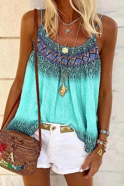 Bohemian Printed Loos-Fitting Camisole