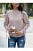 Round Neck  Drawstring  Plain Sweaters