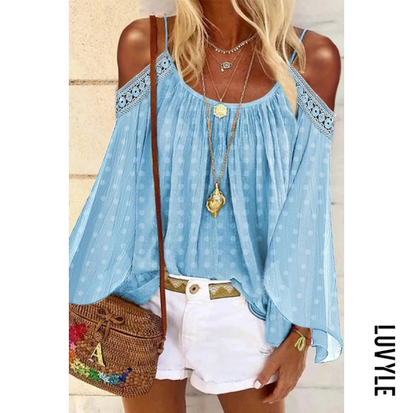 Light Blue Sexy Solid Color Lace Off Shoulder T-Shirt Light Blue Sexy Solid Color Lace Off Shoulder T-Shirt