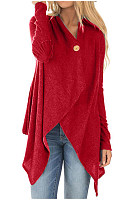 Casual solid color asymmetric design button women's cardigan