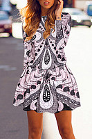 Round Neck  Abstract Print  Long Sleeve Skater Dresses