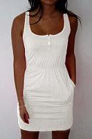 Round Neck  Single Breasted  Plain  Sleeveless Bodycon Dresses