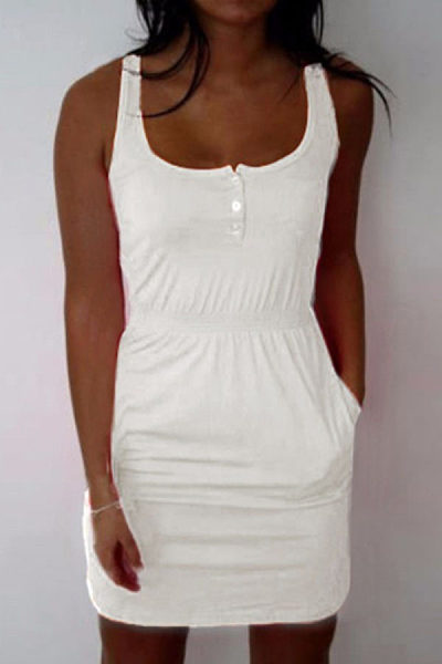 Round Neck  Single Breasted  Plain  Sleeveless Bodycon Dresses