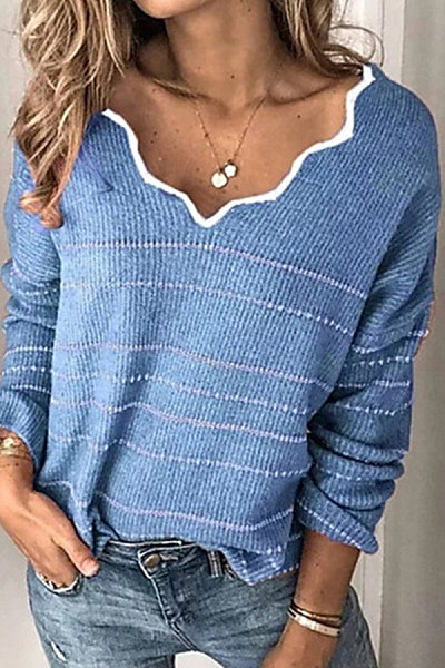 V Neck Long Sleeve Striped Sweater