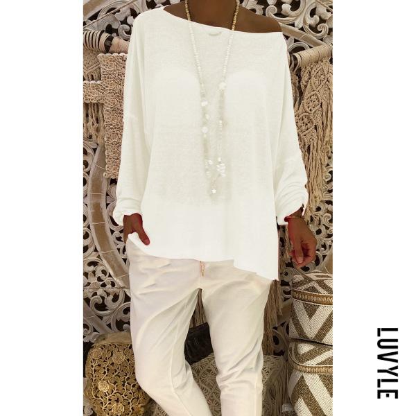 White Autumn Loose Pure Color Slant Shoulder Long Sleeve T-Shirt White Autumn Loose Pure Color Slant Shoulder Long Sleeve T-Shirt