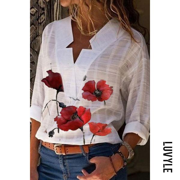 Fashion V-neck Retro Print Long Sleeve Casual Shirt