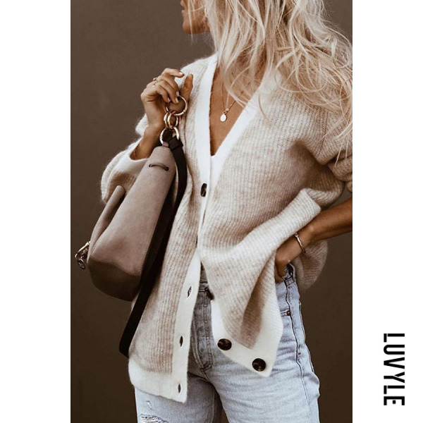 Casual Solid Color V-Neck Long-Sleeved Knit Cardigan