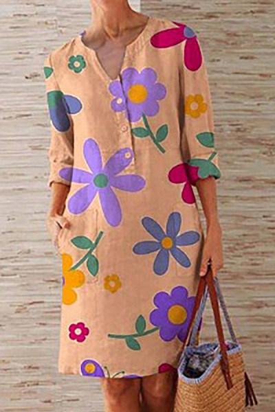 Printed V Neck Print Mini Dress