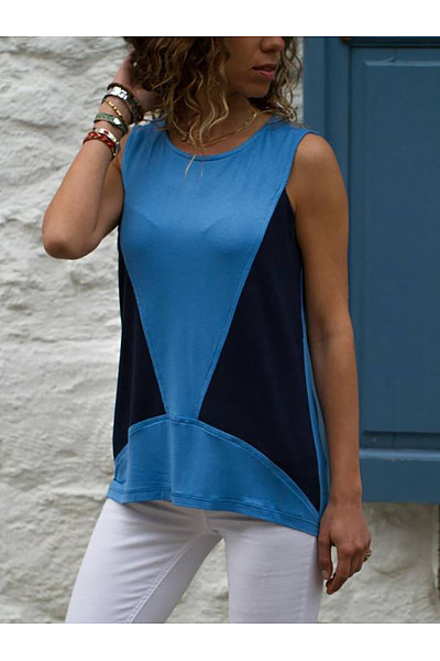 Casual Sleeveless Contrast Color Splicing T-Shirt