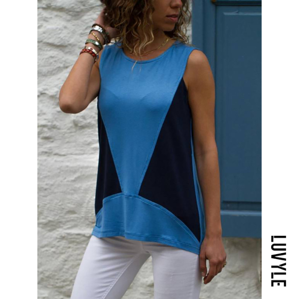 Blue Casual Sleeveless Contrast Color Splicing T-Shirt Blue Casual Sleeveless Contrast Color Splicing T-Shirt