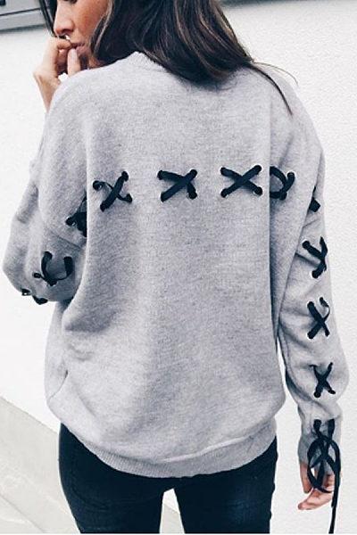 Round Neck  Cross Straps  Plain  Sweatshirts