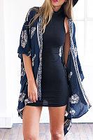 Snap Front Printed Long Sleeve Kimono