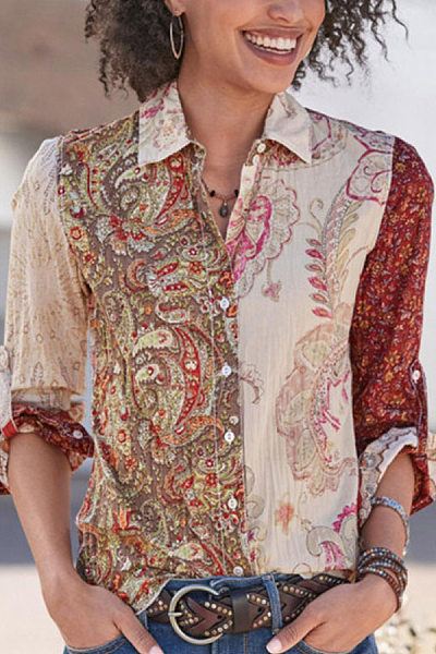 Women casual printing lapel long-sleeved t-shirt